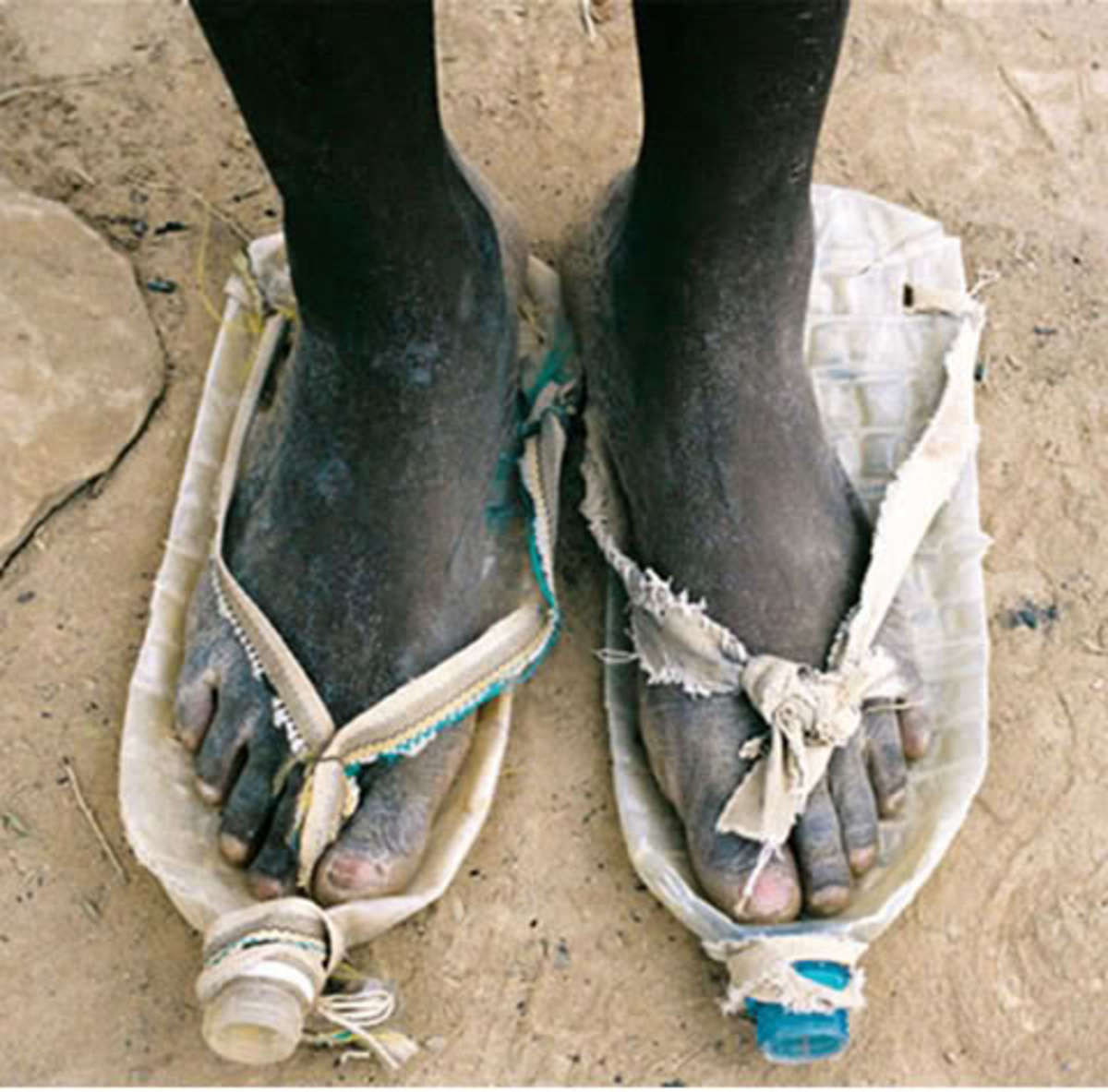 These are sandals made from water-bottles...