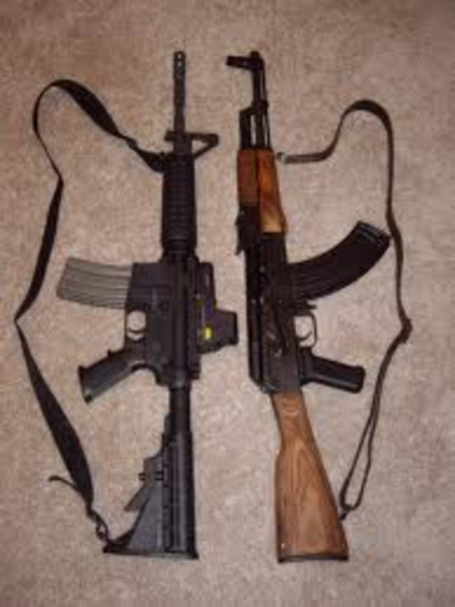 M-4 (left) and AK-47 (right)