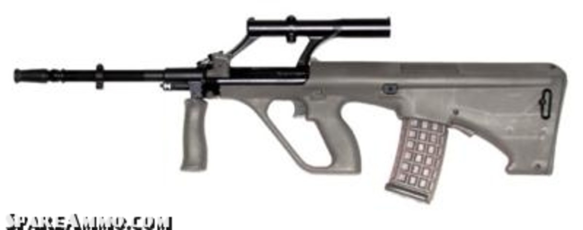 Steyr AUG, one of the first popular bullpup config assault rifles