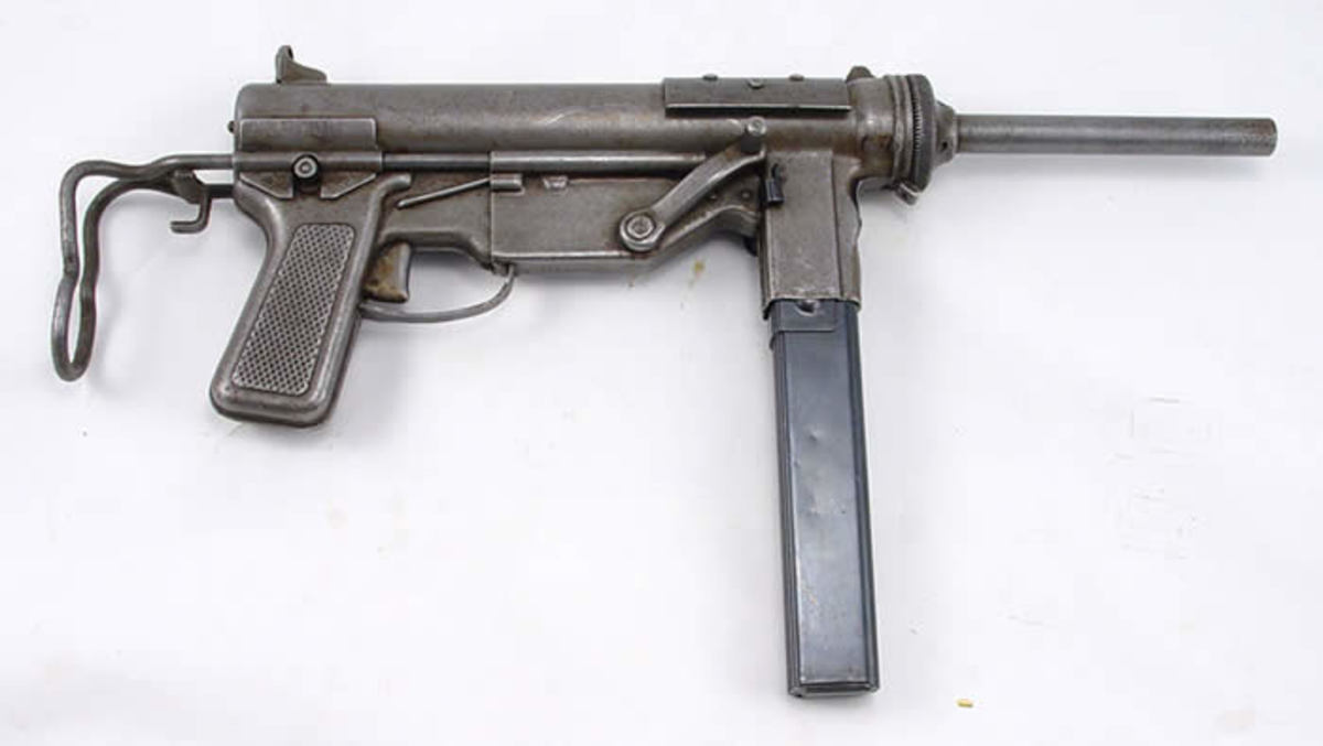 "This is the M3 ""Grease Gun"" SMG of WW2, deployed by the US Army to replace the ""Thompson"" M1 SMG."
