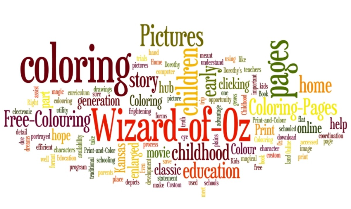 Wizard-of-Oz Colouring Pictures Word Cloud