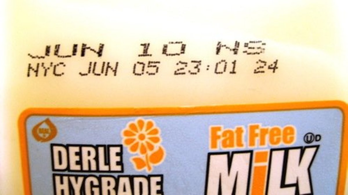 Closeup of a NYC sell by date. Note that the expiration is June 5th in the city, but June 10th anywhere else / Photo by E. A. Wright