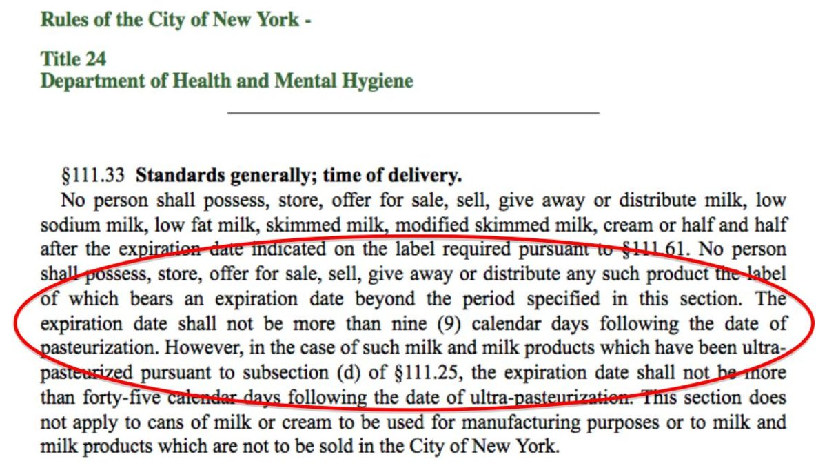 New York City's rules on milk expiration dates / Screenshot by E. A. Wright from The Public Access Portal To the Laws Of the City Of New York