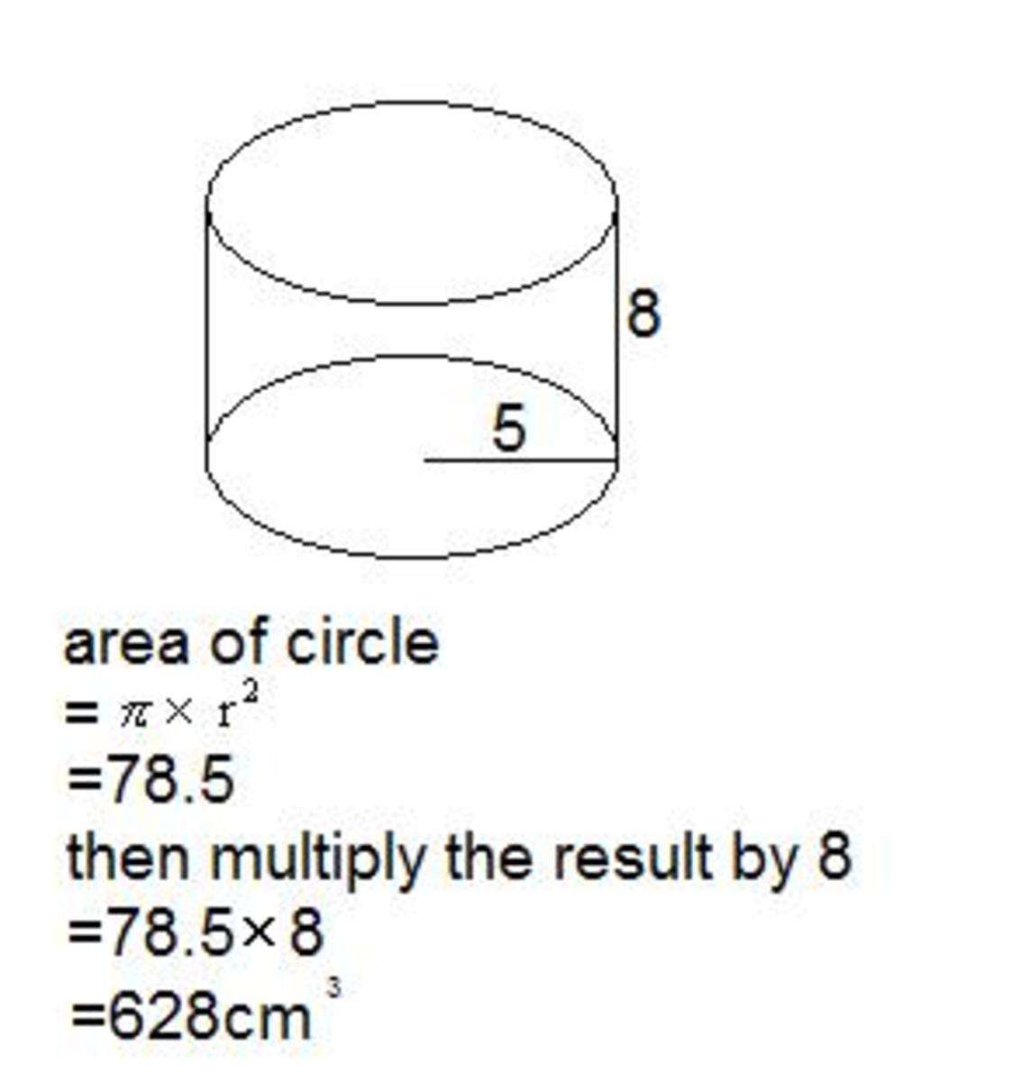 volume of a circular based prism, volume of a cylinder