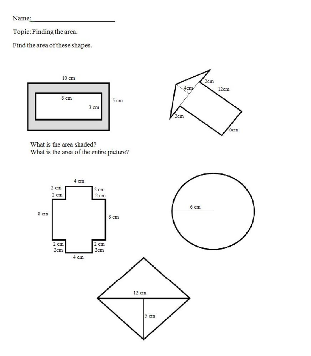 how to find the area of shapes 1