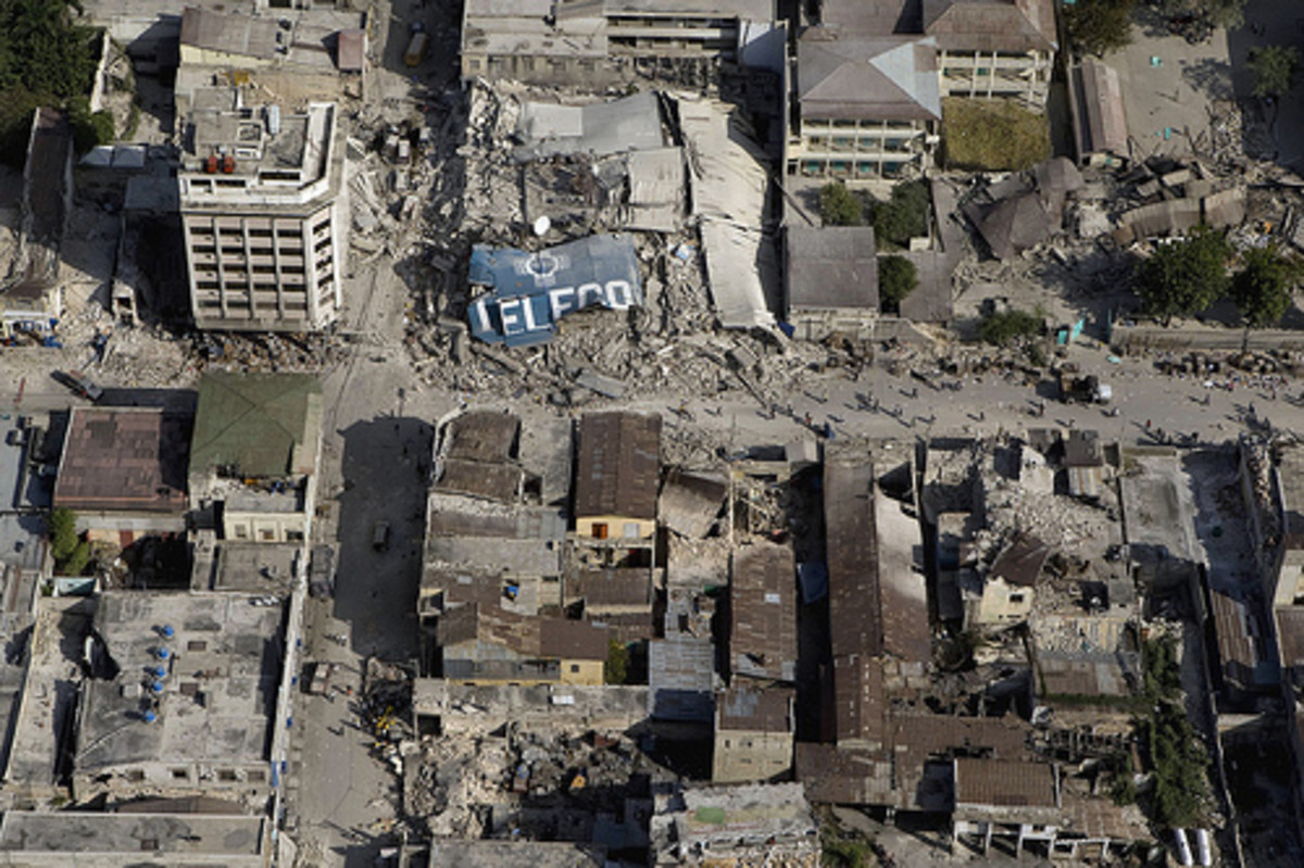 Destroyed infrastructure in the Haiti Earthquake.
