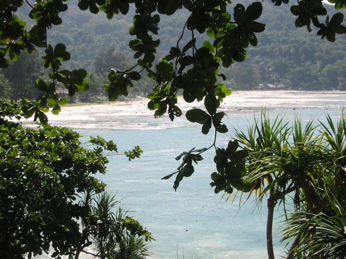 Tsunami waters rushing into Indonesian lands.
