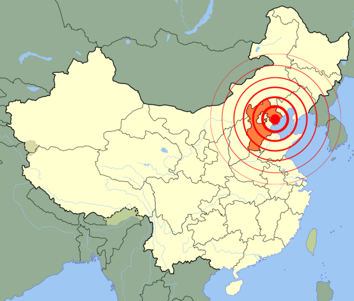 Red zone showing the epicenter of The Tangshan Earthquake.