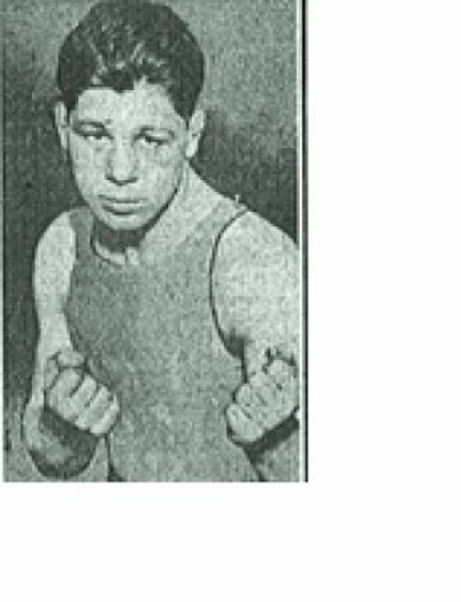 Young Shamus O'Brien as pictured in the Brooklyn Daily Eagle of Feb. 15, 1916 with a story involving a complaint by Shamus against lightweight champion Benny Leonard alleging Leonard used illegal hard tape on his hands.