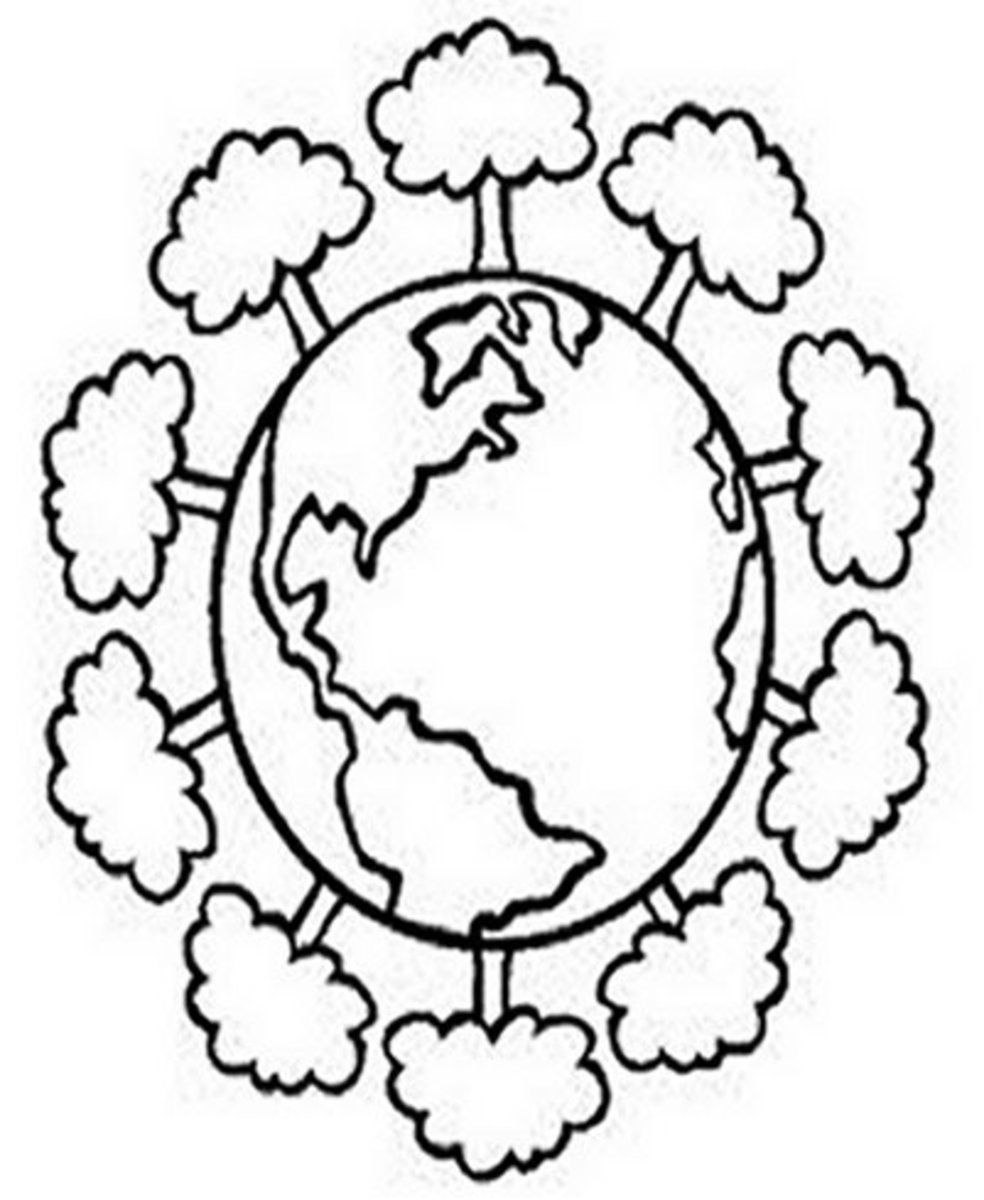 Earth-Day and Environmental Awareness - Earth-Day Kids Coloring Pages and Free Colouring Pictures to Print  - A Green Earth