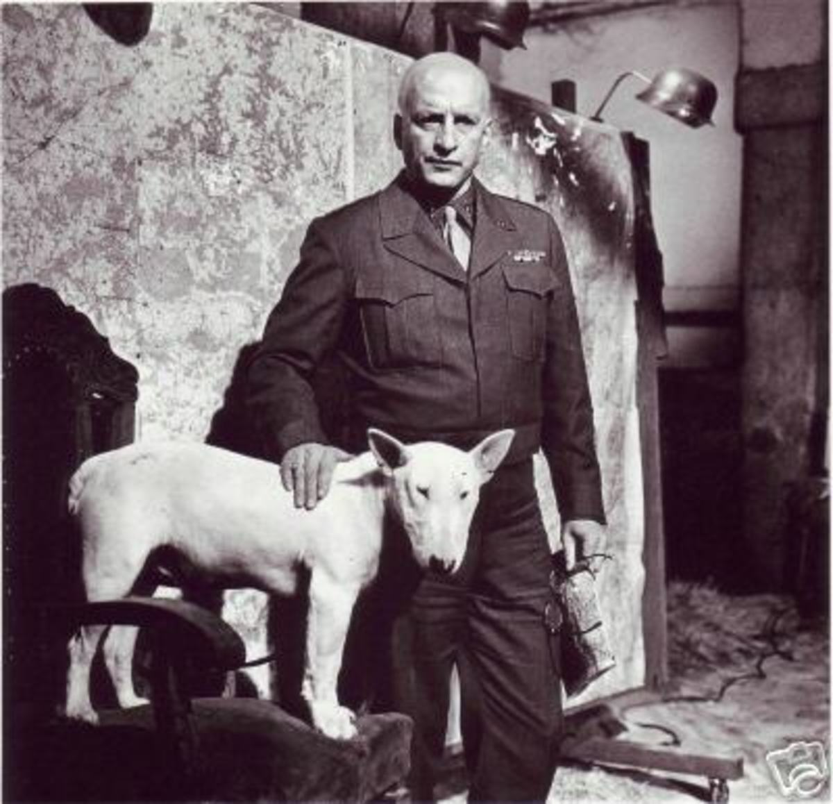 General G. Patton and his 'dream' white dog.