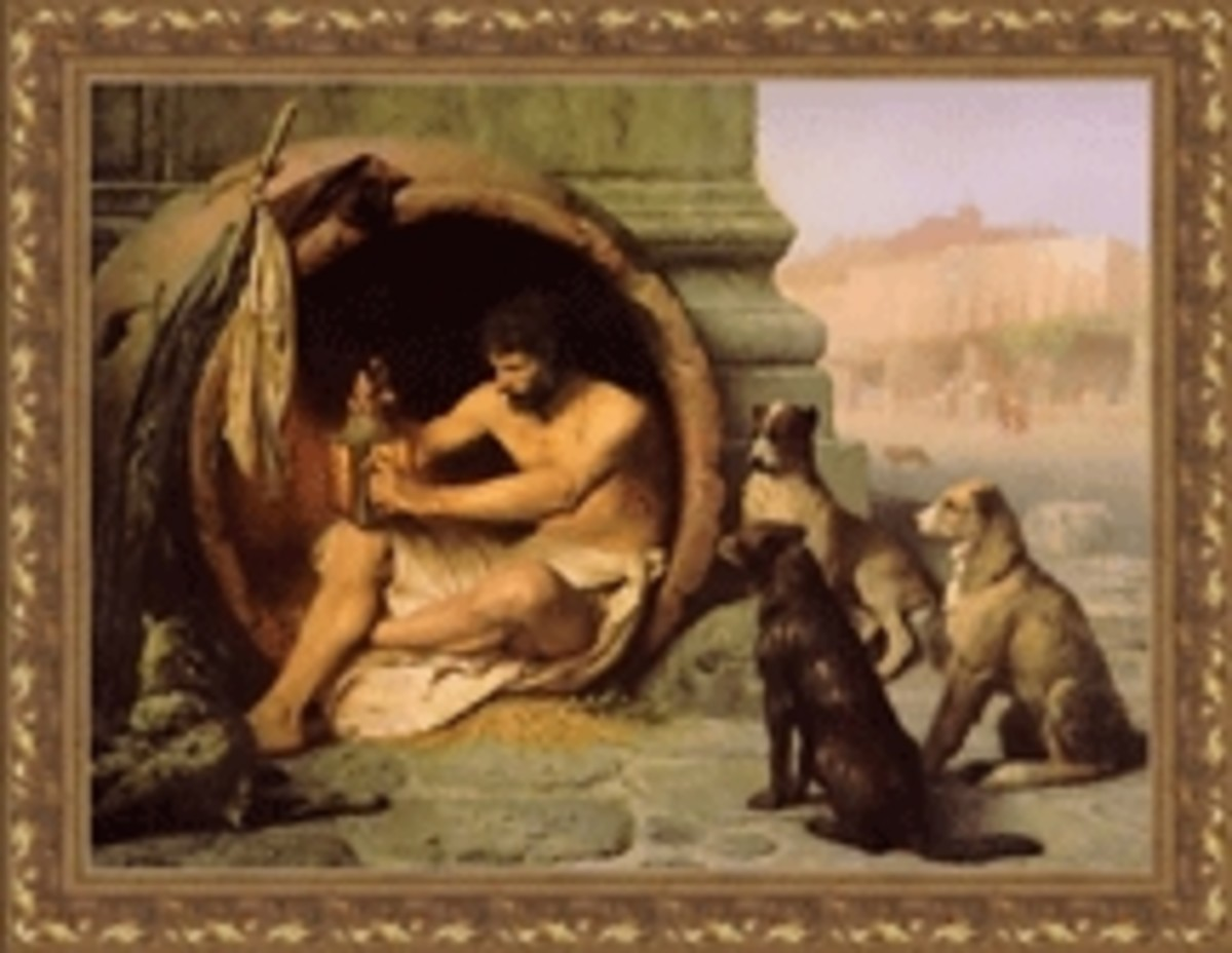 Diogenes with his pack of dogs-   Image complements of kairos.technorhetoric.net