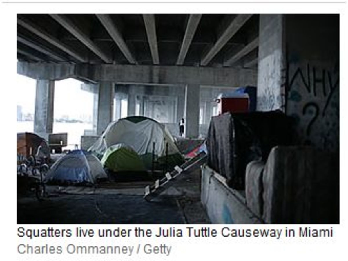 "A photo from the contentious Time magazine article about sex offenders forced to live under this bridge due to a ""frenzied rash"" of ""draconian legislation"" in ""a heated emotional response to the rape and murder of Jessica Lumford."""