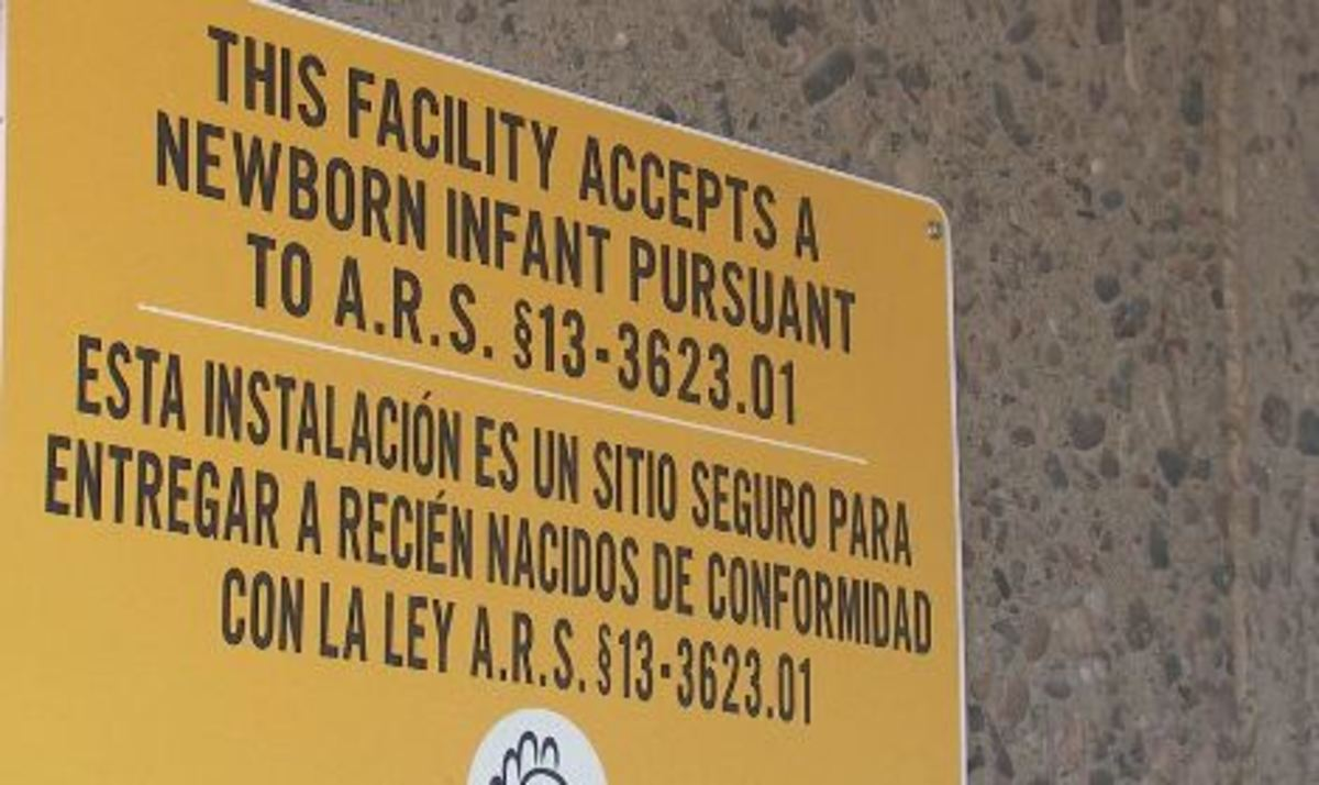 a sign at a safe haven drop off in Phoenix, AZ