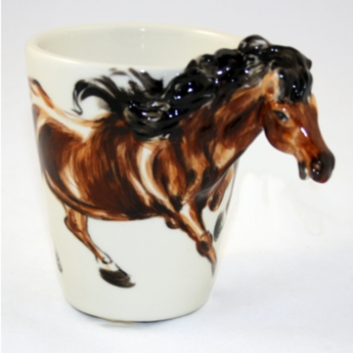 Ceramic Coffee Mug with a Horse and Flowing Black Mane