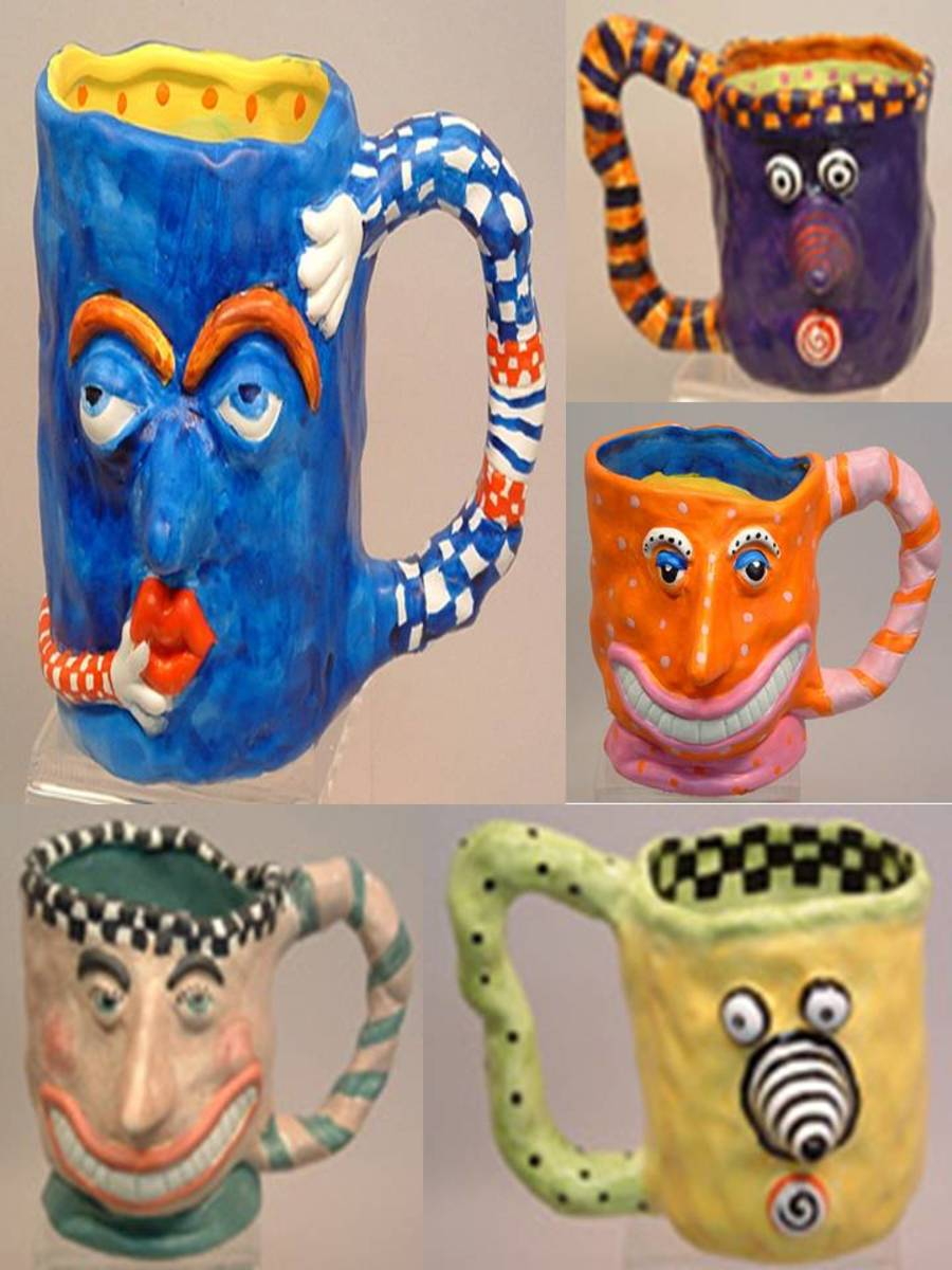 Fun and colorful coffee mugs hand crafted by July Bomberger