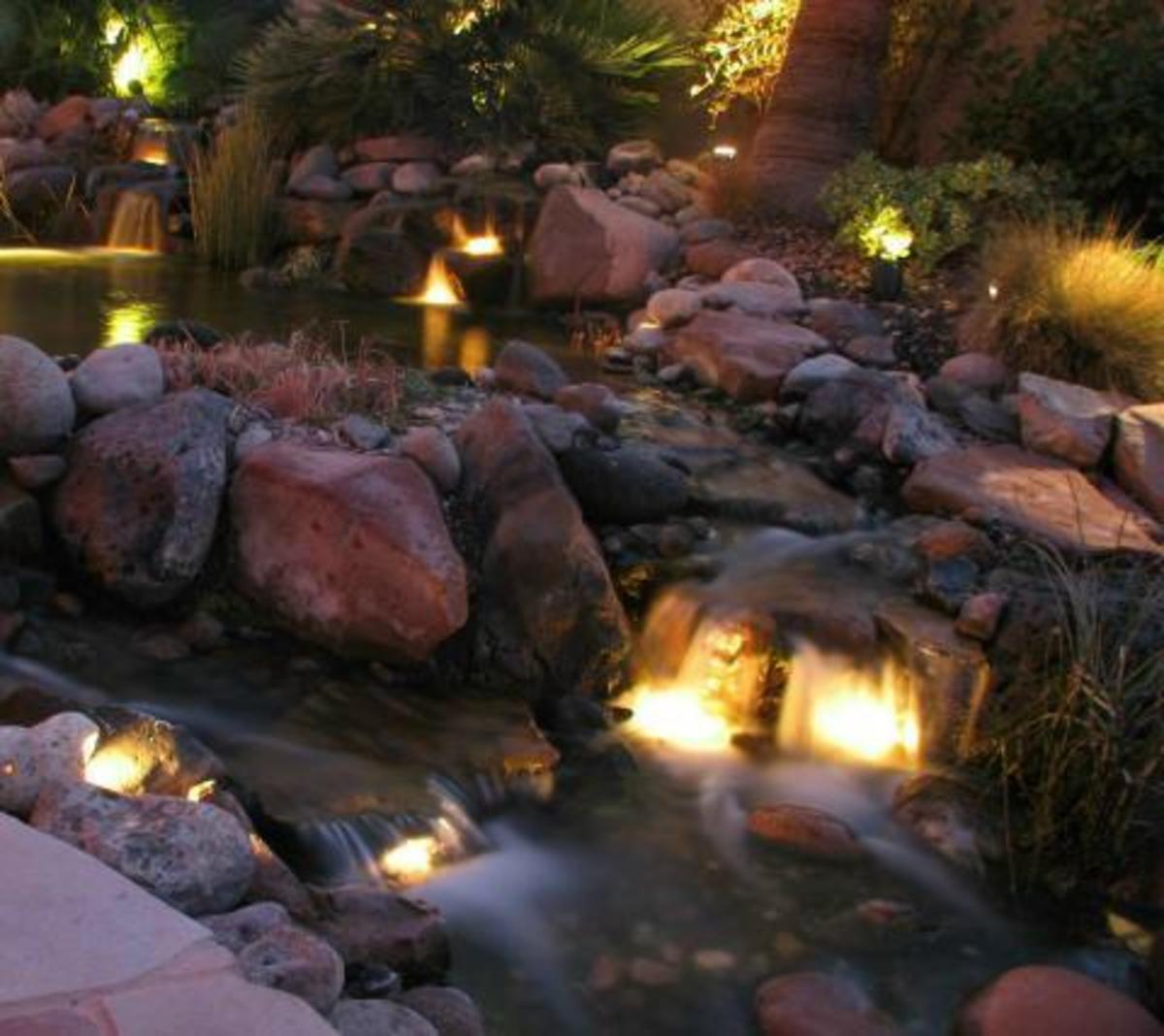 Koi pond pictures for Koi pond lights