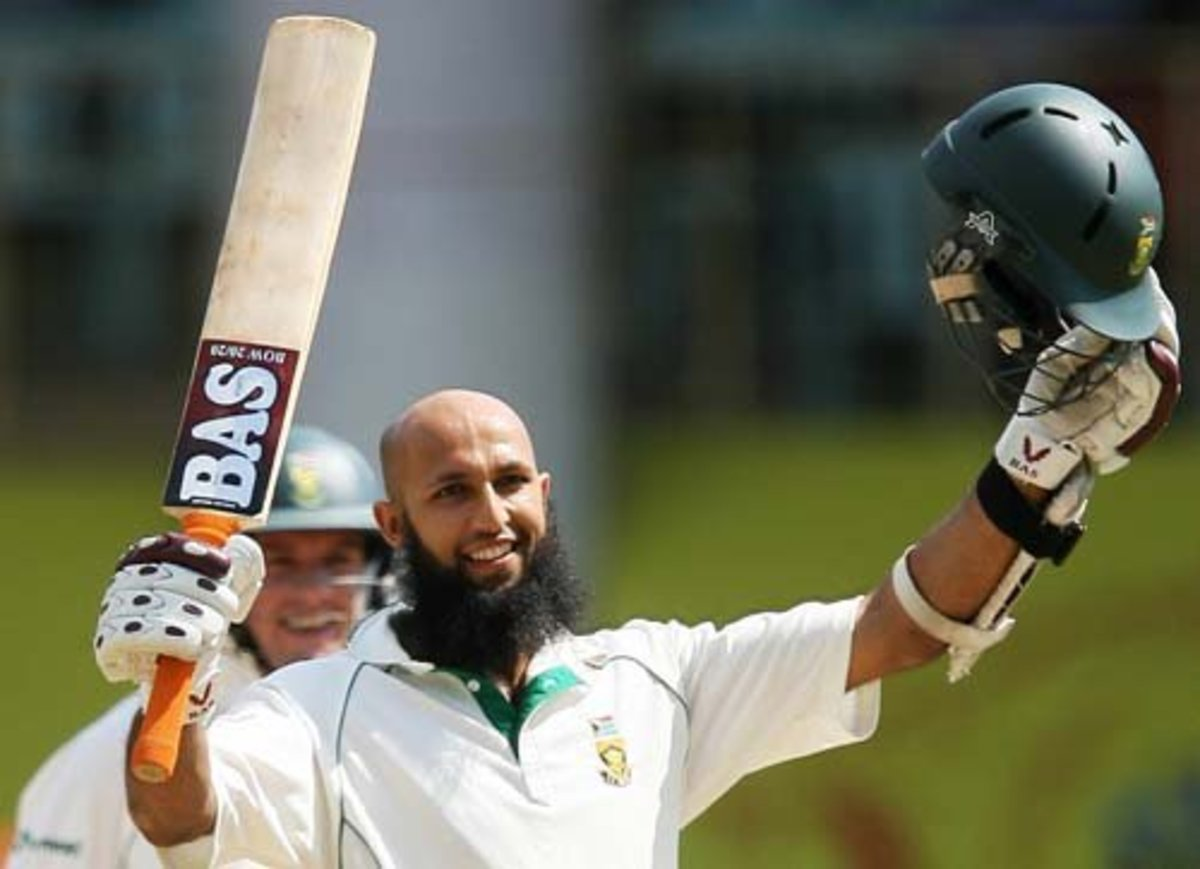 Hashim Amla celebrates another batting achievement