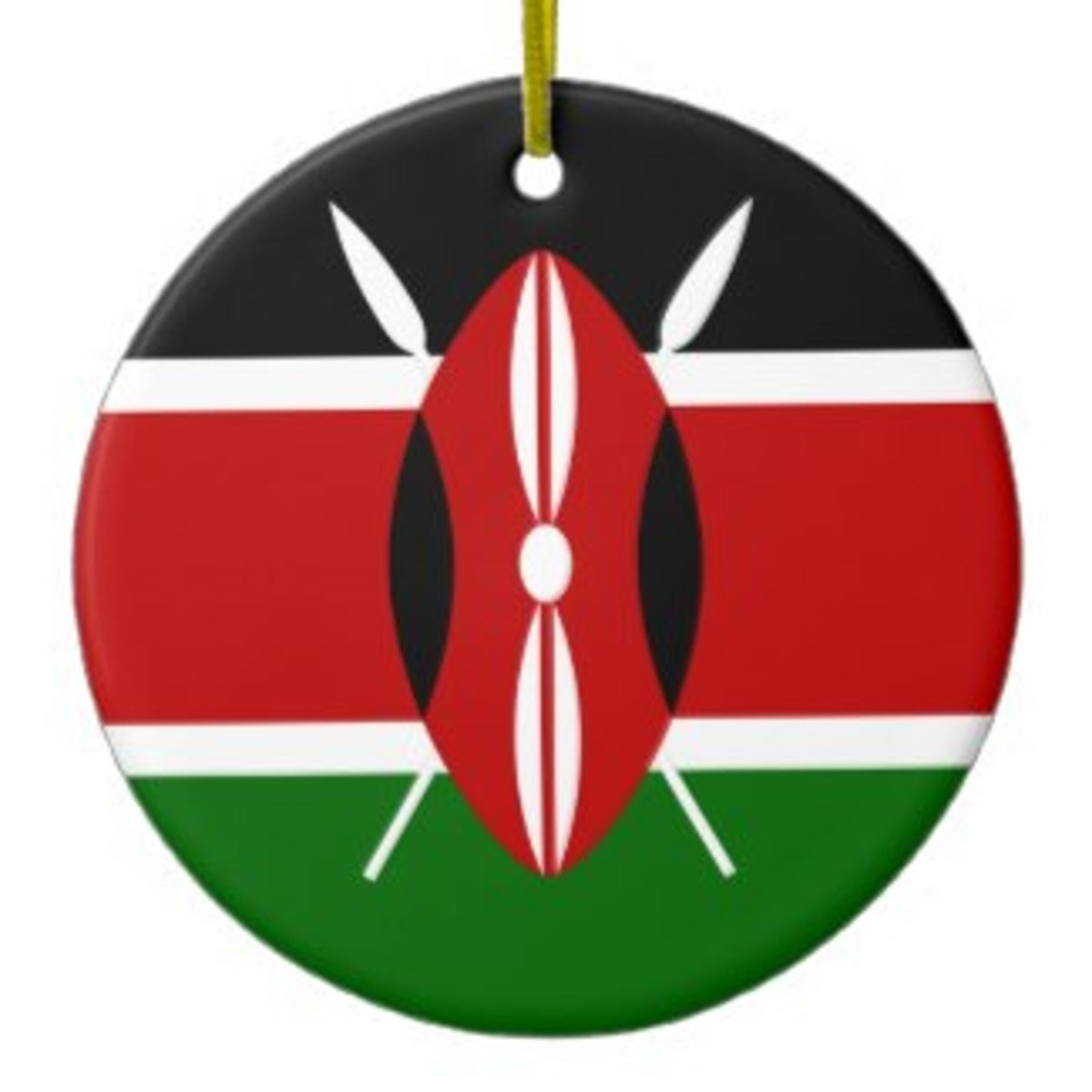 This one represents the Kenyan flag, but all the other countries are represented with different shapes like hearts or stars featuring the colors of their flags.