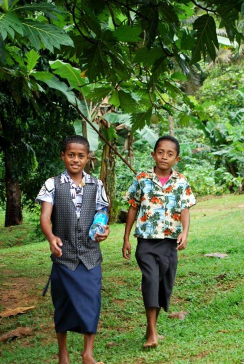 Fijian boys on their way to church