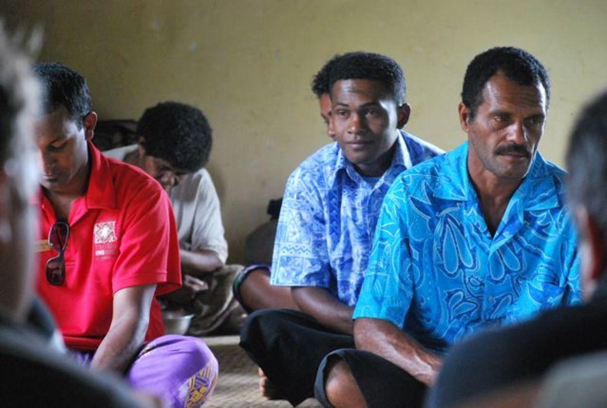 At a kava ceremony in Fiji