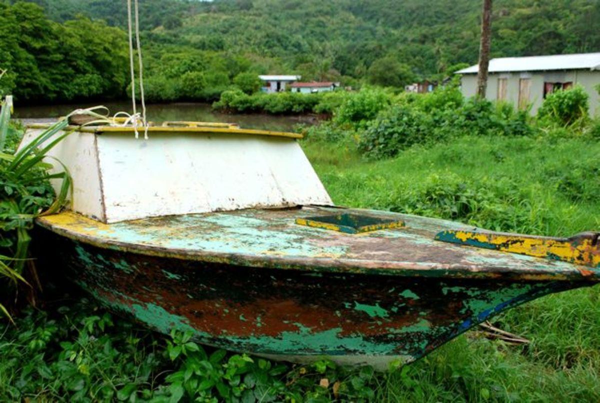 Fishing boat outside a Fijian village