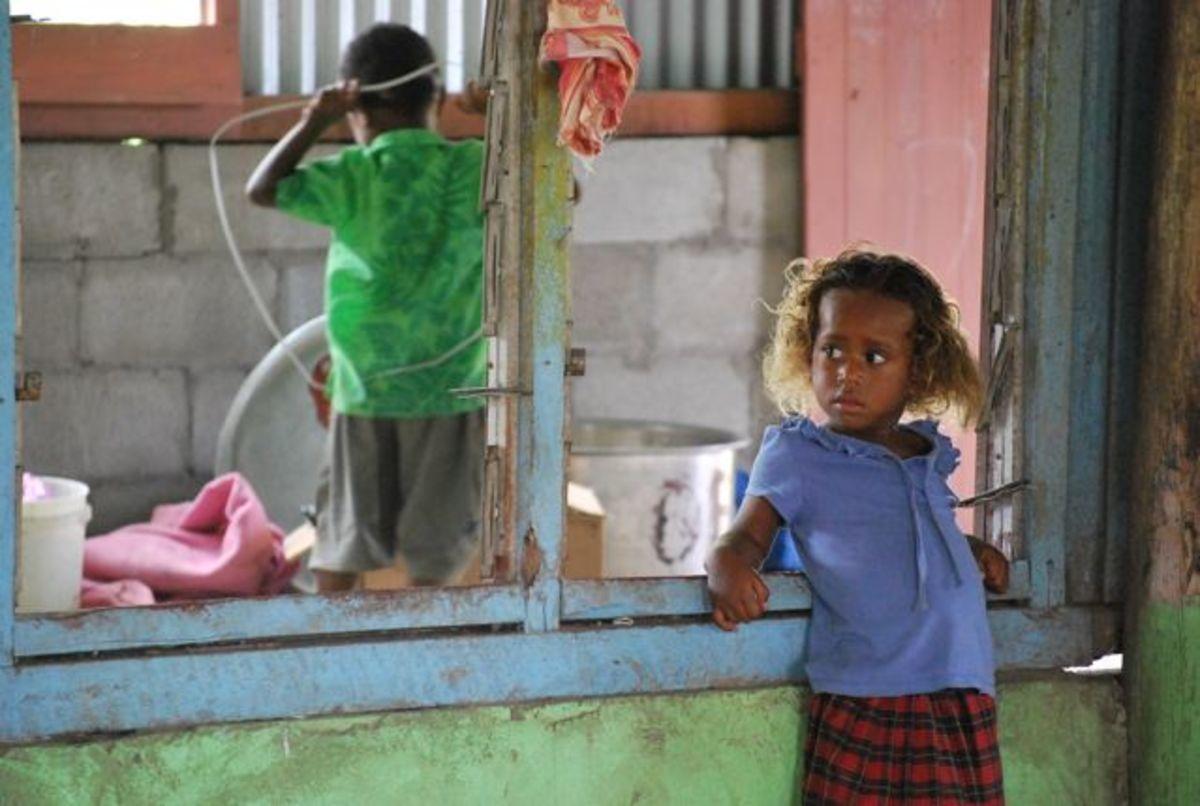 Watching dancing in a Fijian village