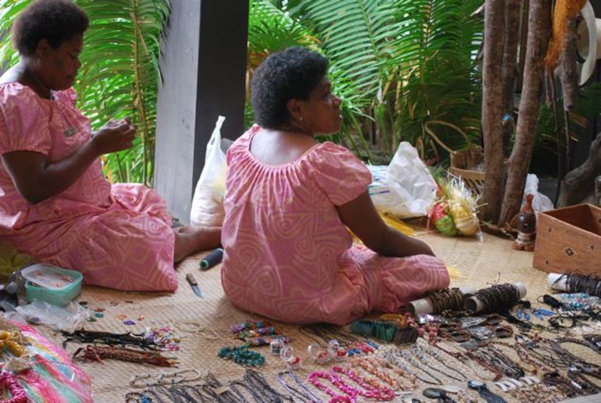Fijian women sell their wares at a resort