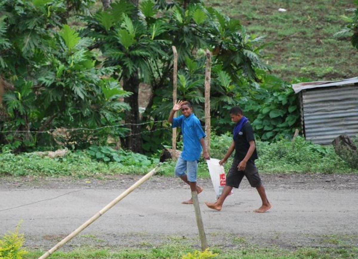 Walking through a Fijian village