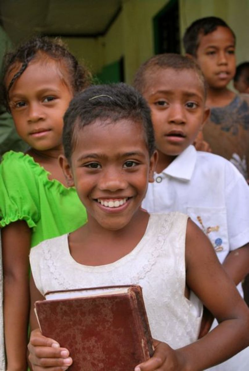 Young Fijians after church