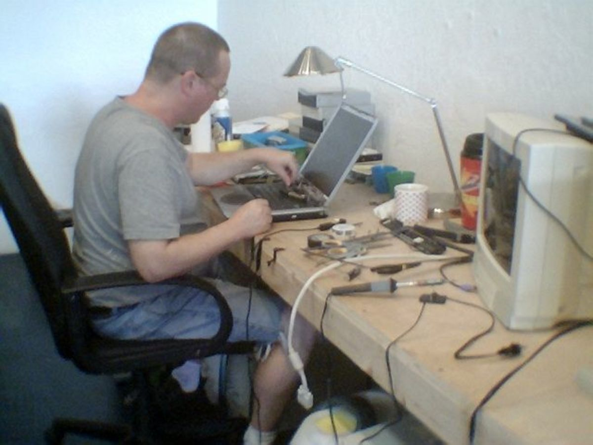 Me at work on a laptop
