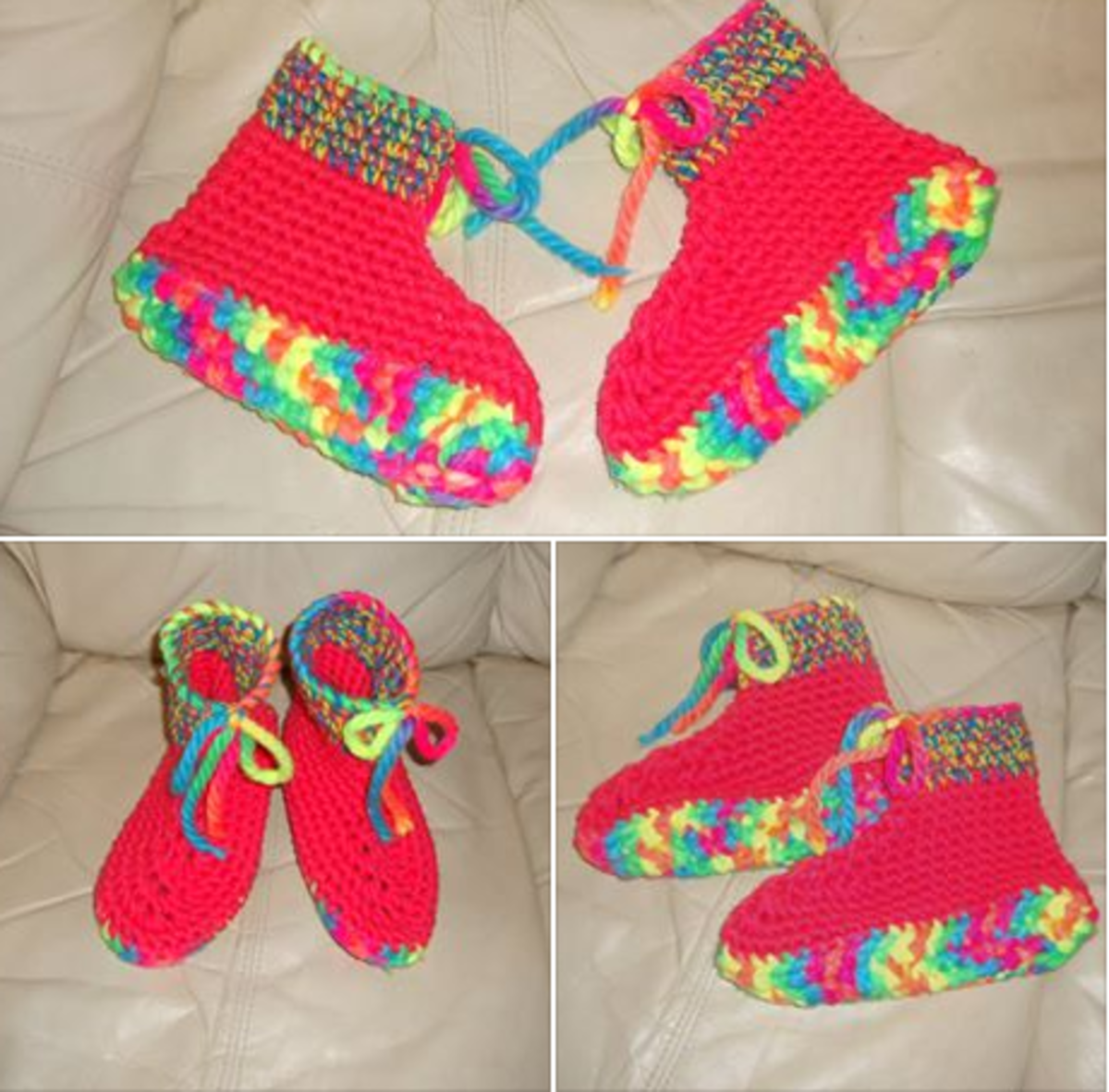 A super bulky yarn was used for the soles.