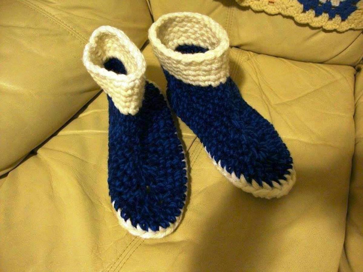 Blue and Cream Slippers