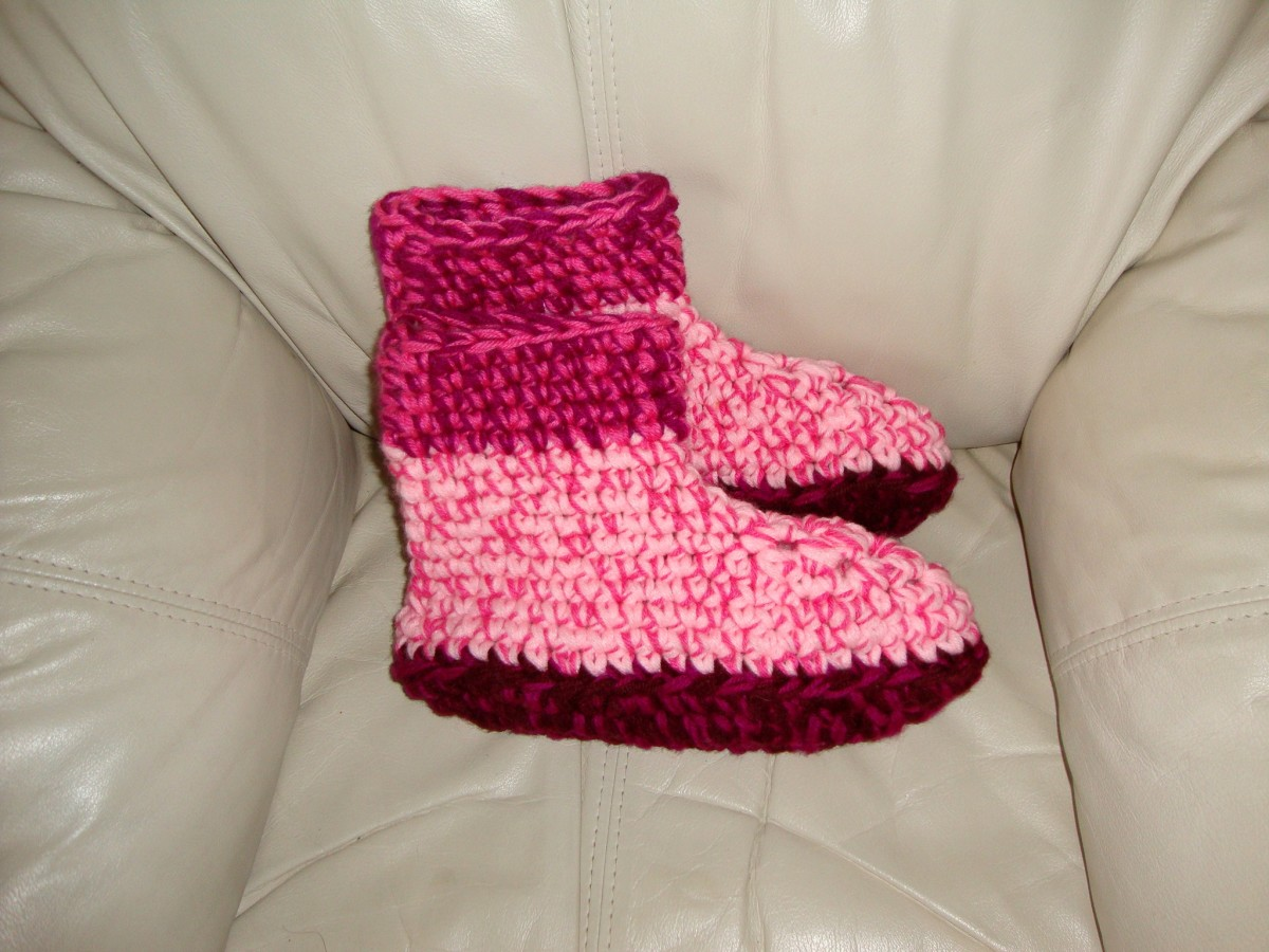Pink Slippers Made With Yarn and Wool