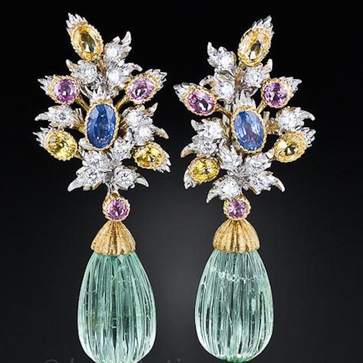 Buccellati Diamond, Sapphire And Green Beryl Earrings