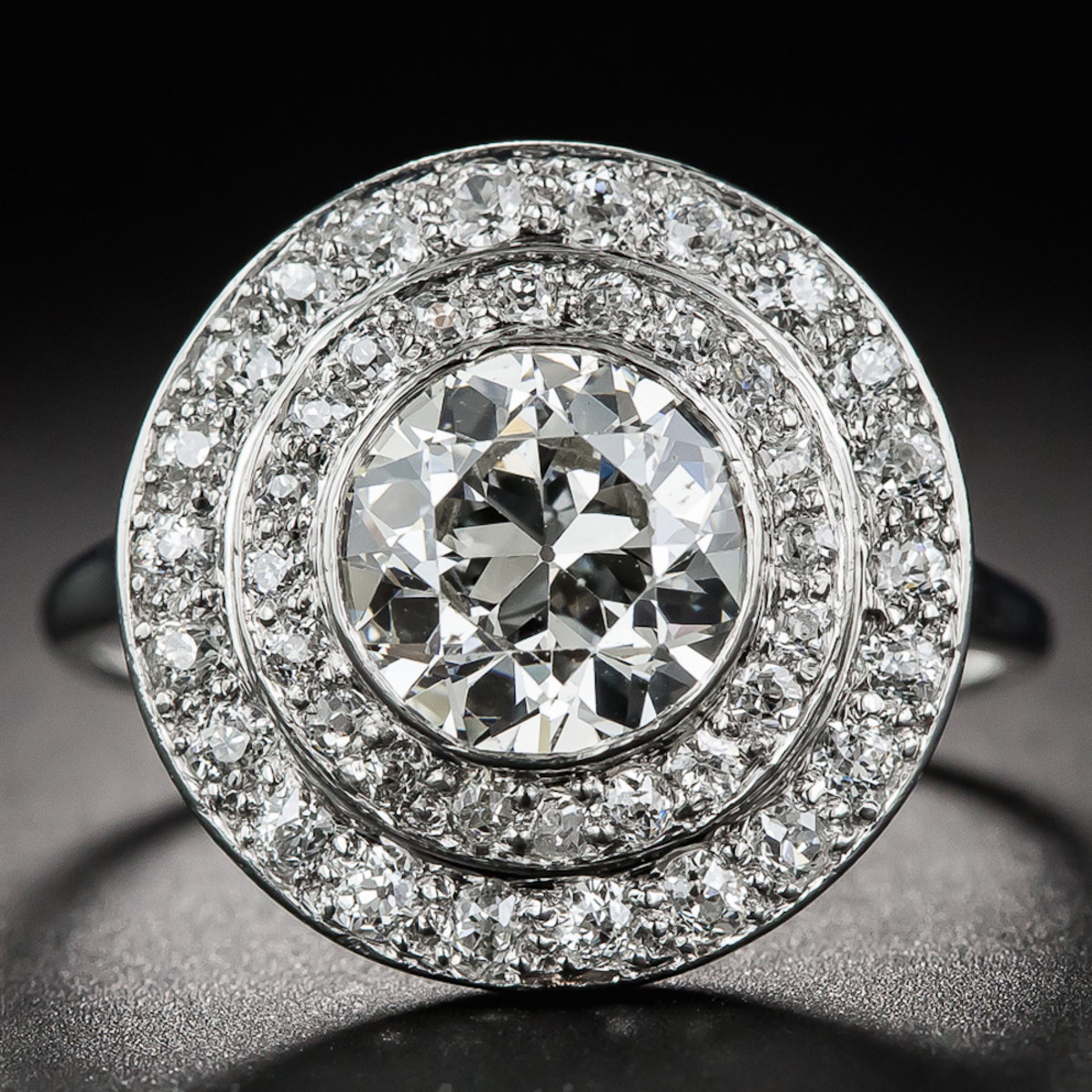 Art Deco Double Halo Diamond Ring