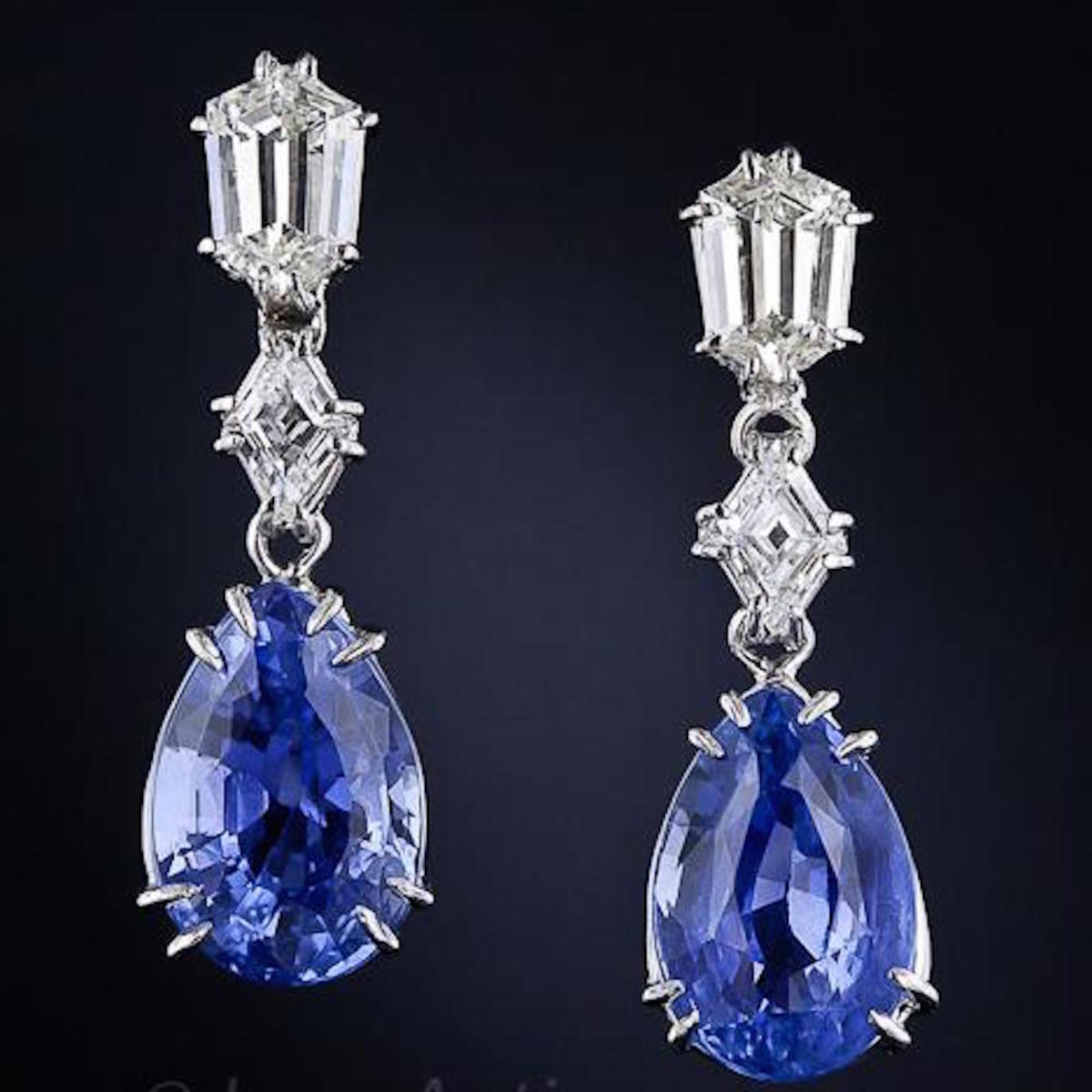 Ceylon Sapphire And Diamond Pendant Earrings