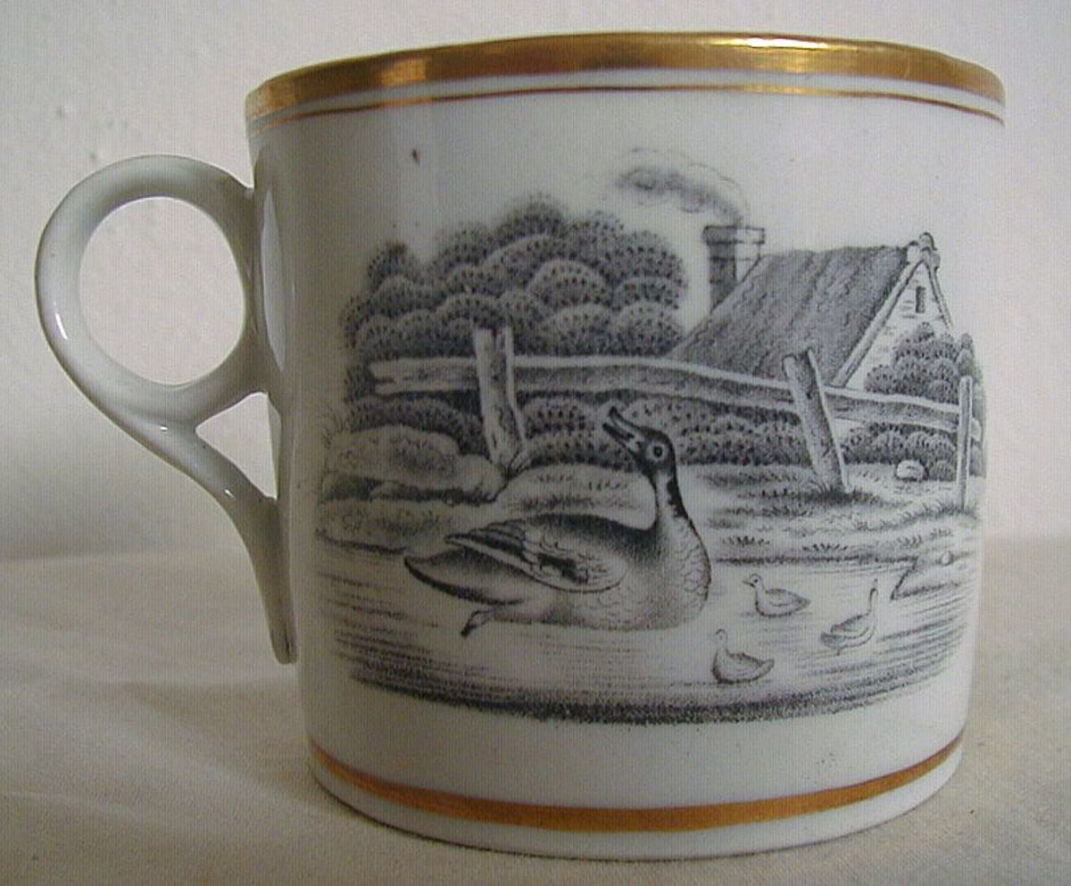 New Hall Porcelain Coffee Can Bat Print c. 1810