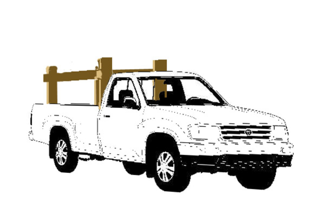 This wooden pickup carrying rack lifts in and out of the bed when you want to use it.  Ratcheting tie-downs secure the framework to the bed of the truck.