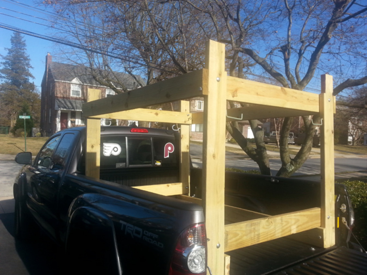 What the rack looks like with the tailgate down. Can be made with 2x4s or over-engineered with 2x6s as shown
