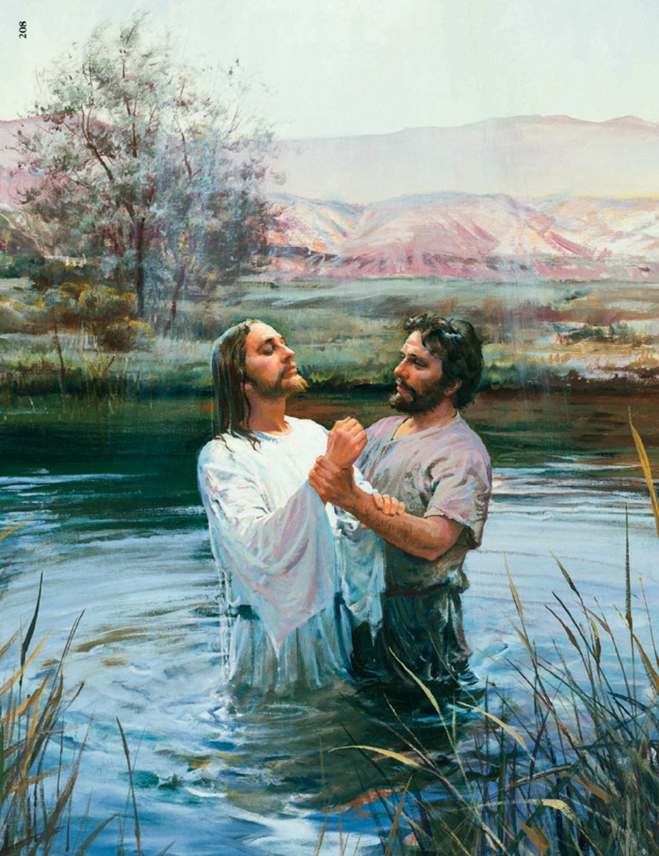 JESUS BAPTISED IN THE RIVER JORDAN BY JOHN THE BAPTIST