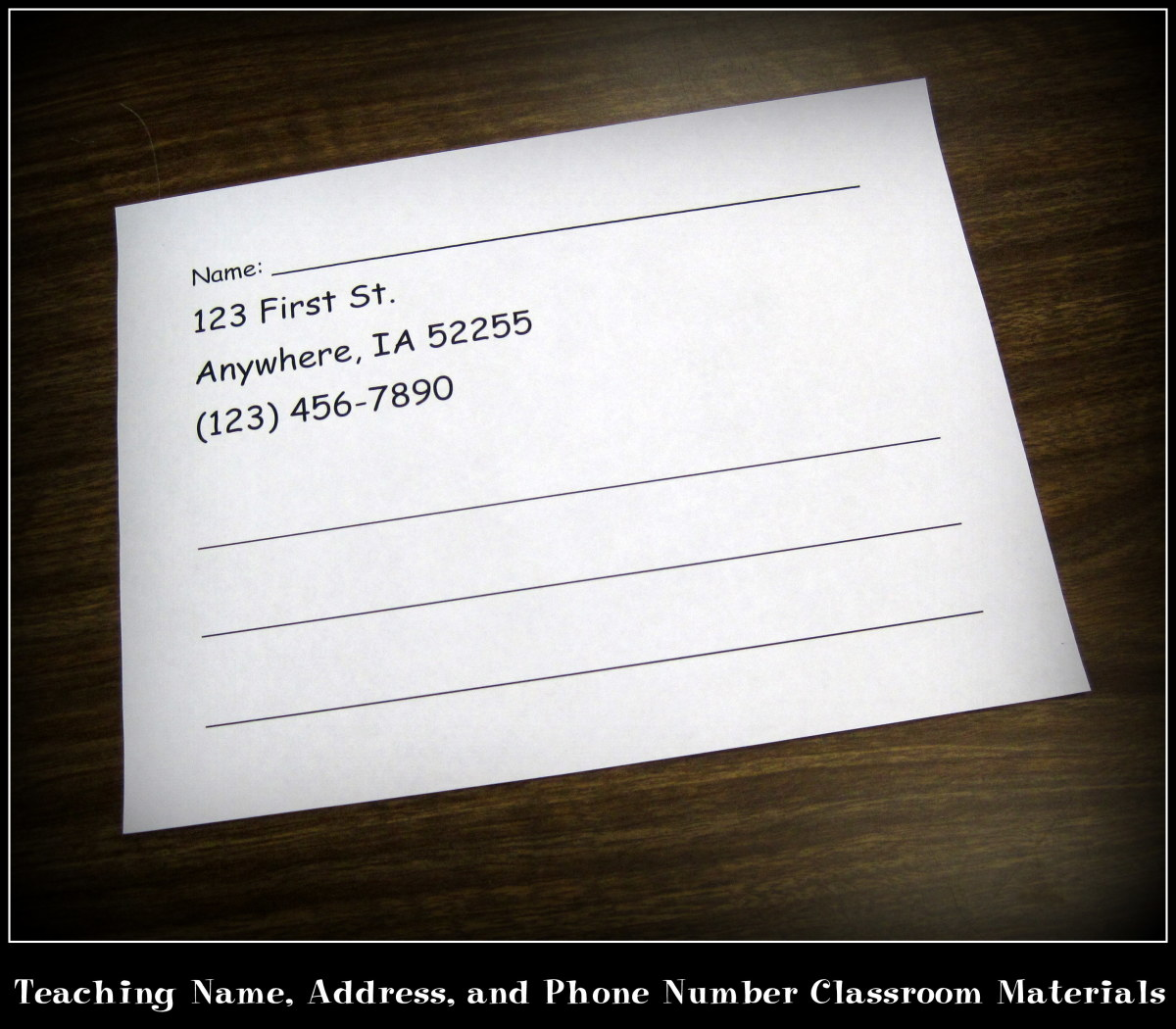 teaching name  address  and phone number classroom materials