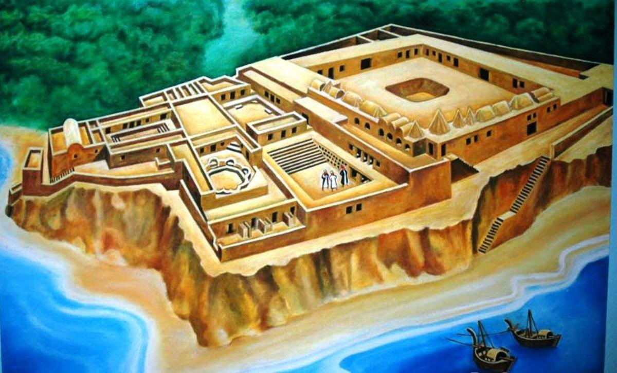 An artist's impression of how Husuni Kubwa might have looked in its heyday in the 13th century and after.