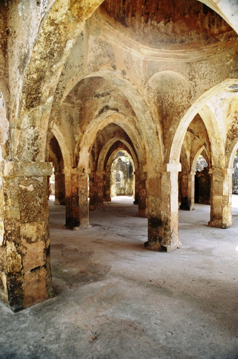 The domed chambers and pillars of the mosque which was the largest in Southern Africa at the time