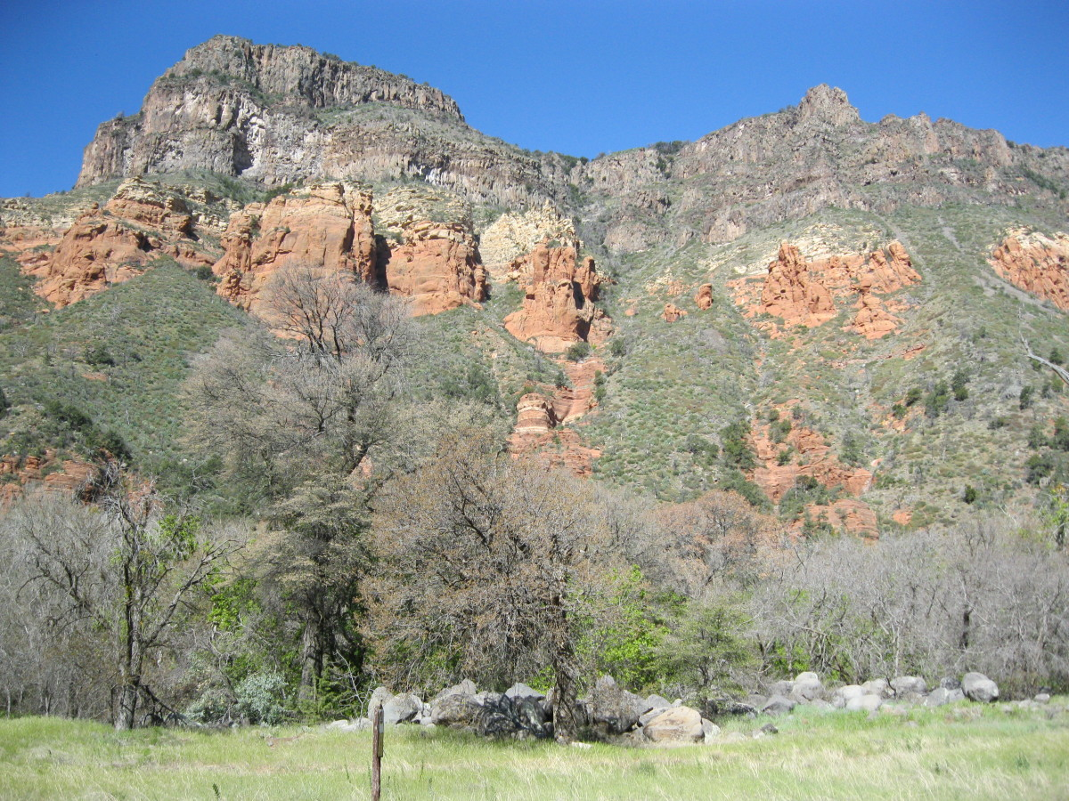 Red Sandstone, and White Limestone Cliffs in Oak Creek Canyon, Sedona Arizona
