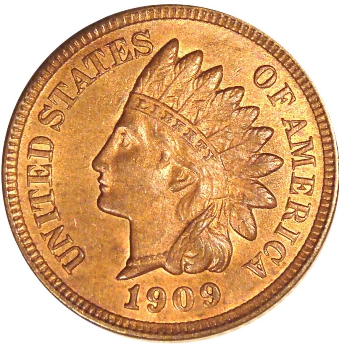 1909 Indian Head penny red