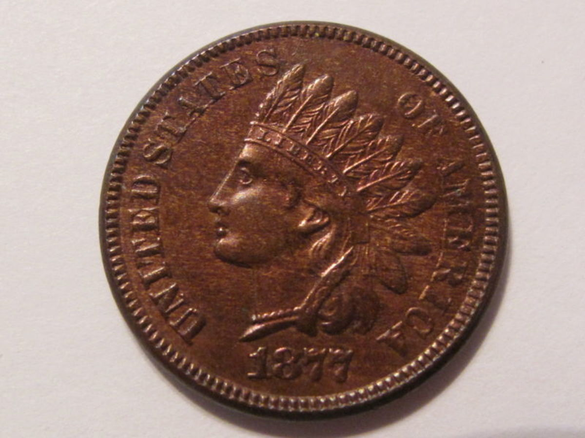 red-brown 1877 Indian Head penny
