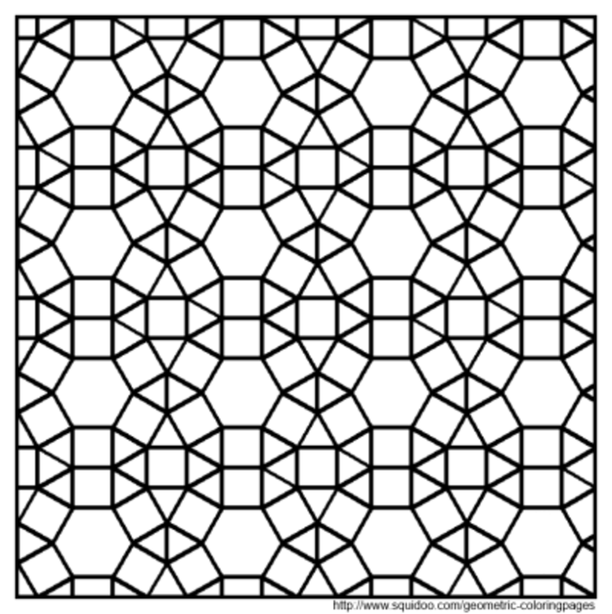 Geometric coloring pages hubpages for Tessellating shapes templates