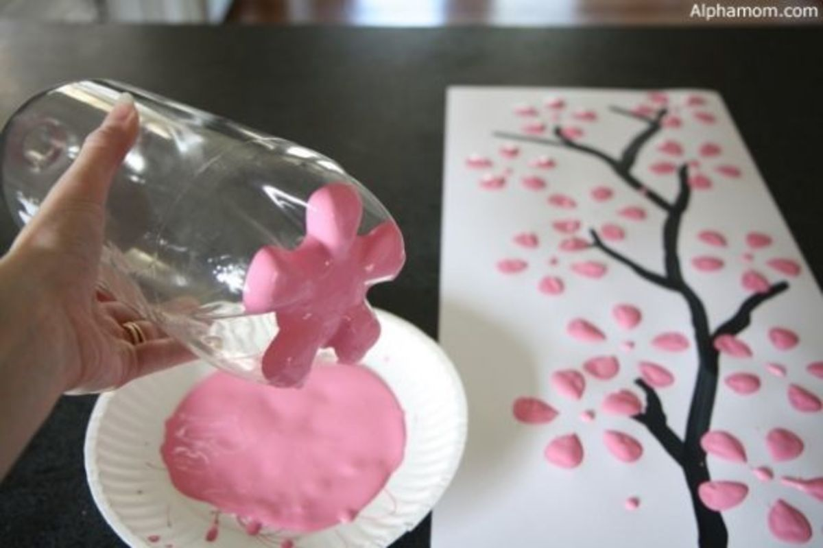DIY Wall Art - Cherry Blossom via Alpha.mom
