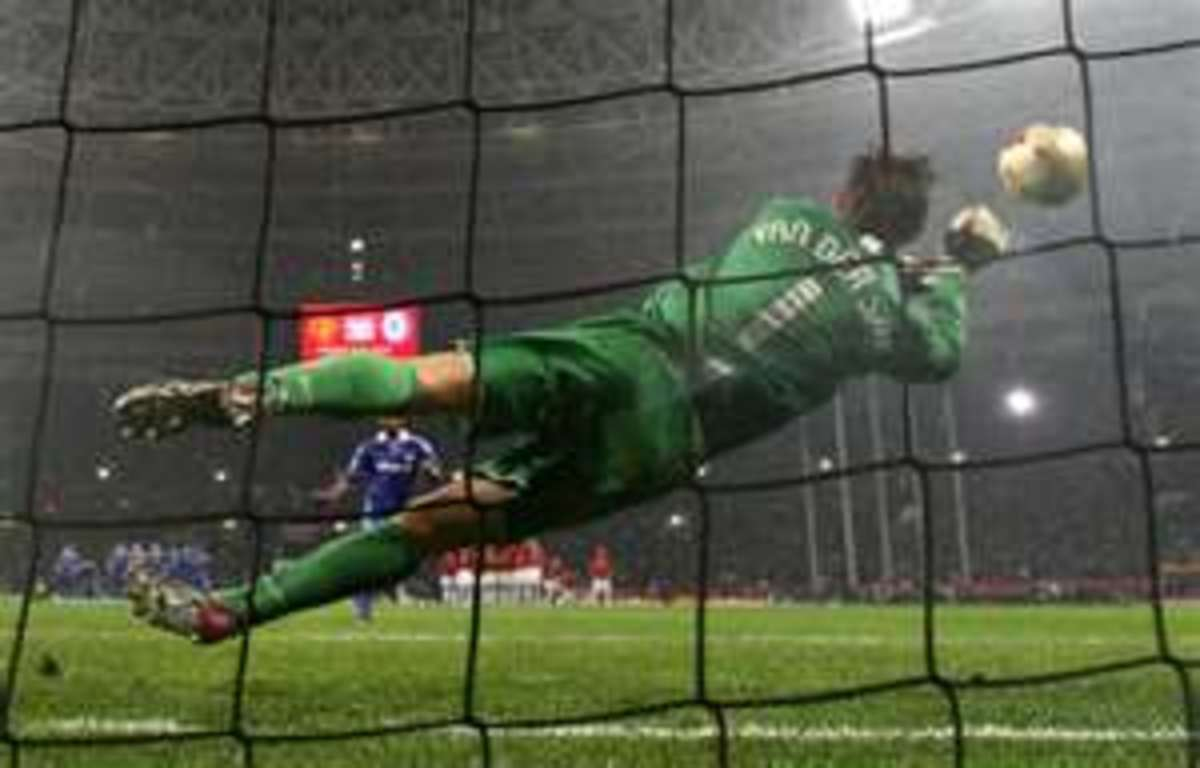 Spectacular save from goalkeeping great Edwin van der Sar